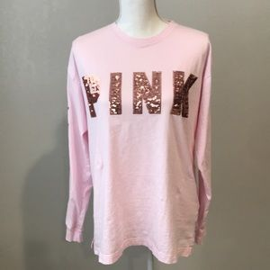 Pink long sleeve t shirt w sequin detail